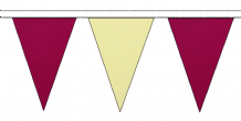 CLARET AND BEIGE TRIANGULAR BUNTING - 10m / 20m / 50m LENGTHS